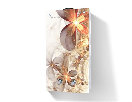 Газовая колонка  Zerten  Glass B-20 кВт (цветок на сером фоне) - фото 6957