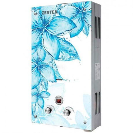 Газовая колонка  Zerten  Glass D-20 кВт (синий цветок на белом фоне) - фото 6958